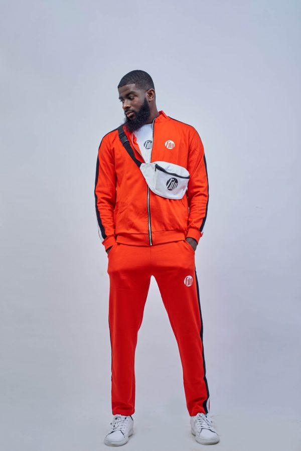 Orange and black side stripe tracksuit